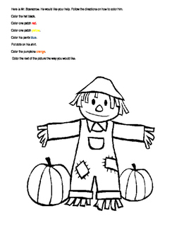 Scarecrow color worksheet
