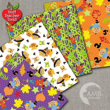 Halloween Digital Papers, Spooky Scarecrow Digital scrapbooking papers, AMB-158