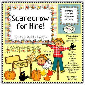 Scarecrow for Hire! Fall Clip Art Collection
