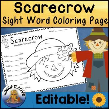 Scarecrow themed Sight Word Activity Sheet *Editable*