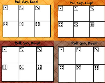 Scarecrow/Fall Themed: Roll, Say, Keep! Alphabet Center, Games, and Printables