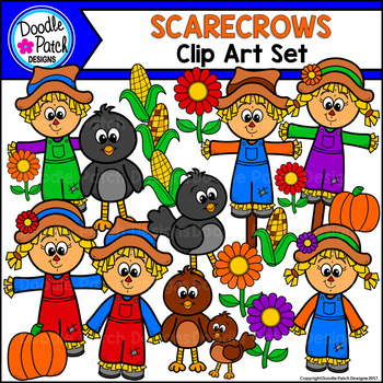 Scarecrows Clip Art Set - Doodle Patch Designs
