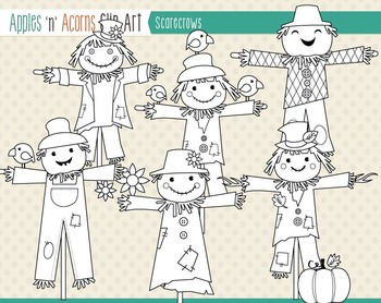 Scarecrows Clip Art - color and outlines