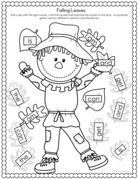 Kindergarten - Special Education -Fall Math and Literacy Activities - Scarecrows