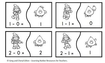 Scarecrows Subtraction Fact Fluency Puzzles for Kindergarten & First Grade