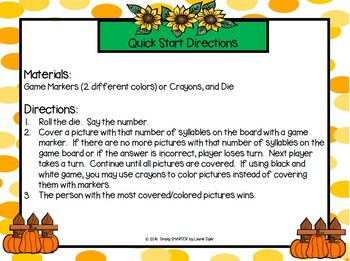 Scarecrow's Syllables:  NO PREP Roll and Cover Game