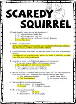 Scaredy Squirrel - Book Test & Bonus Book Report