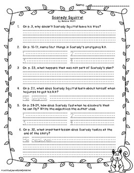 Scaredy Squirrel: Text-Dependent Questions and Close Reading Worksheet