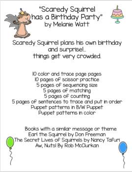 Scaredy Squirrel has a Birthday Party by Melanie Watt Book Unit