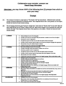 """Scarlet Ibis"" writing task and rubric"