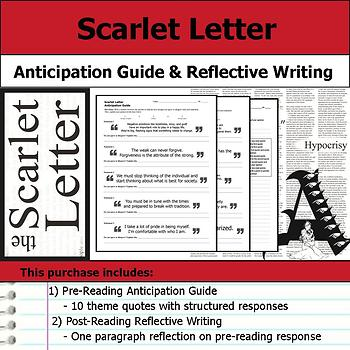 Scarlet Letter - Anticipation Guide & Post Reading Reflection