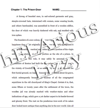Scarlet Letter Chapter One 30-min Text Lesson with Annotation Worksheet