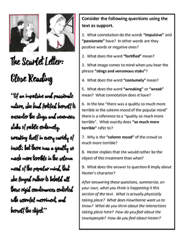 Scarlet Letter Close Reading One Pager
