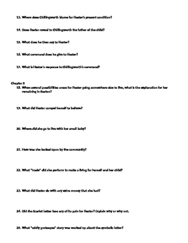 Scarlet Letter Comprehensive Study Guide Questions