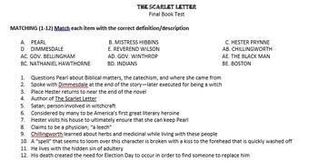 Scarlet Letter Final Book Test