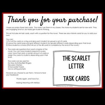 Scarlet Letter Task Cards - High School