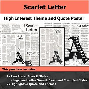 Scarlet Letter - Visual Theme and Quote Poster for Bulletin Boards