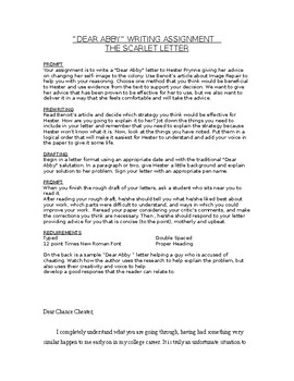 Scarlet Letter Writing Assignment- Dear Abby