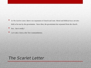 Scarlet Letter- discussion of separation of church and state