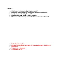 Scarlet Letter- reading quizzes/questions