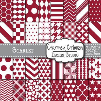 Scarlet Red Geometric Basic Digital Paper 1143