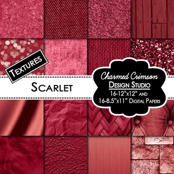 Scarlet Red Texture Background Digital Paper 1334