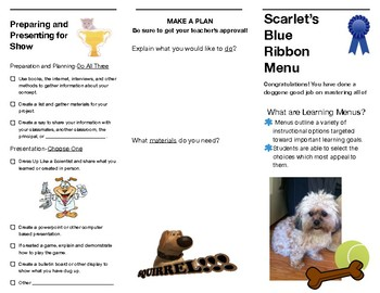 Scarlet's Blue Ribbon Learning Menu