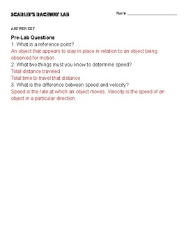 Scarlet's Raceway Laboratory Speed and Velocity