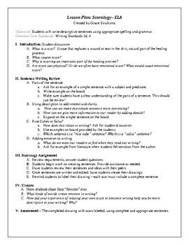 Scarology Descriptive Sentences lesson plan