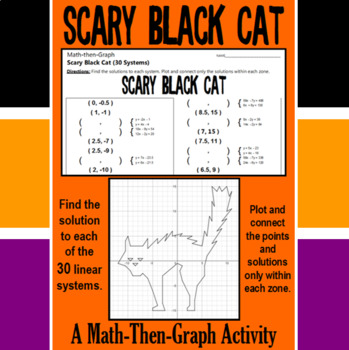 Scary Black Cat - A Math-Then-Graph Activity - Solve 30 Systems