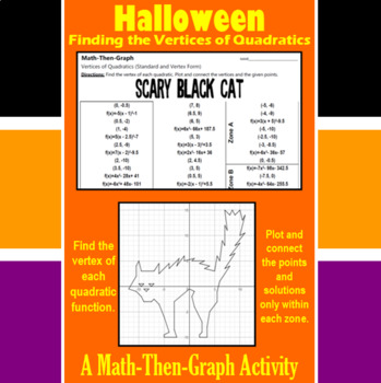 Scary Black Cat - A Math-Then-Graph Activity - Finding Vertices