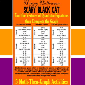 Scary Black Cat - Finding Vertices - 4 Math-Then-Graph Activities