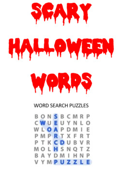 Scary Halloween Words Word Searwch Puzzles