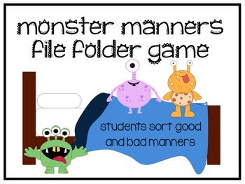 Scary Manners File Folder Game