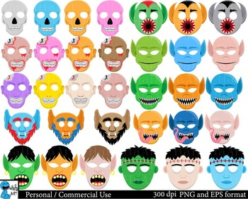 Scary Monsters Props - Clipart Digital Personal Commercial Use 71 images cod184