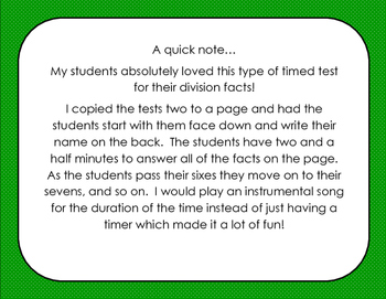 Scary Sixes Division Timed Test