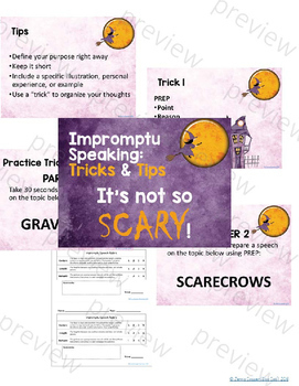 Scary Speaking: Impromptu Speeches Lesson and Activity