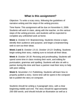 scary story assignment by salle teachers pay teachers scary story assignment