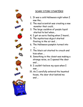 Scary Story Starters - Great for Halloween!