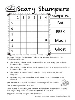 Scary Stumpers! Halloween Logic Puzzle, Brain Teasers, Critical Thinking