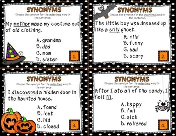Synonyms Language Arts Center Task Cards
