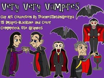 Scary Vampires Clip Art Collection! Commercial Use Friendly-Color/Blackline