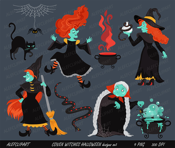 Scary Witches on Coven,  Halloween Witch Clipart, Witch Clipart.
