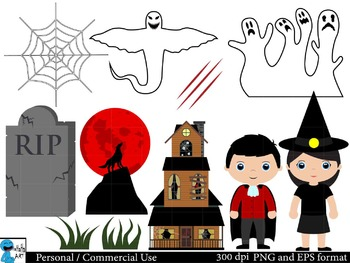 Scary halloween Digital Clip Art Graphics 31 images cod16