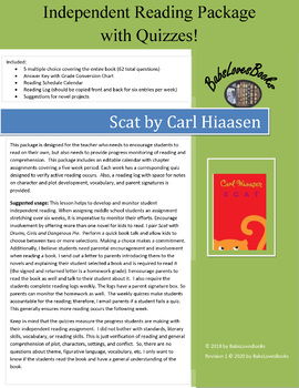 Scat by Carl Hiaasen Independent Reading Package with Quizzes!