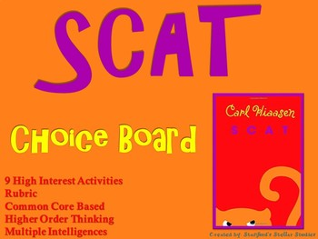 Scat by Hiaasen Choice Board Novel Study Activities Menu Book Project Rubric