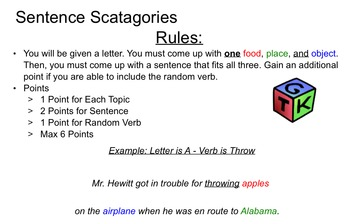 Scatagories Sentence Game - Verbs