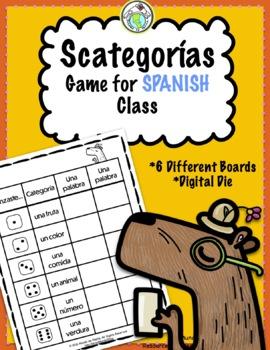 Scategorías Vocabulary Game Printable Spanish Game