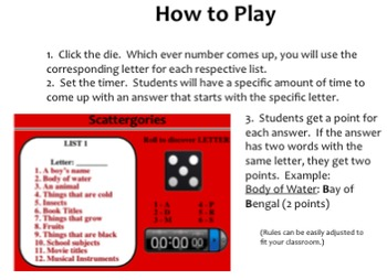 Scattegories for the Smartboard