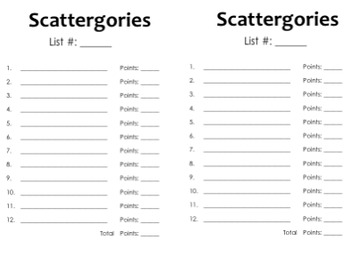 Current image throughout scattergories answer sheets printable